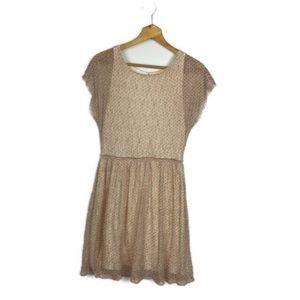 Anthropologie Sparrow Pink Mesh Sheath Dress Sz M
